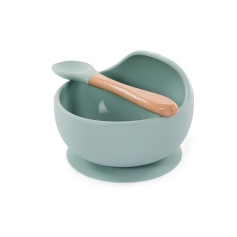 B-Suction Bowl Silicone & Spoon Blue