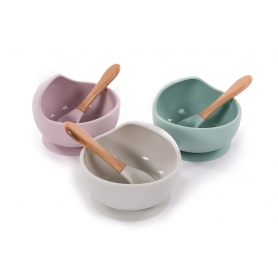 B-Suction Bowl Silicone & Spoon Roze