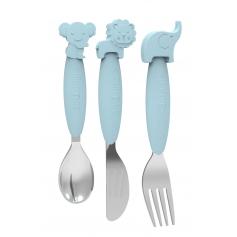 B-Silicone Spoon-Fork-Knife Set Blue