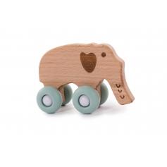 B-Woody Elephant on Wheels Pastel Bleu
