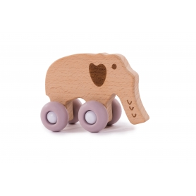 B-Woody Elephant on Wheels Pastel Roze