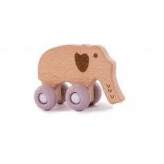 B-Woody Elephant on Wheels Pastel Roze