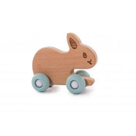 B-Woody Rabbit on Wheels Pastel Blauw
