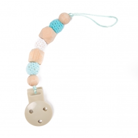 B-Pacifier Chain in Wood Bleu