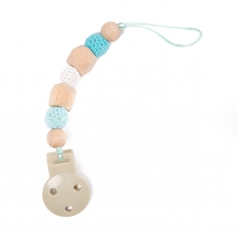 B-Pacifier Chain in Wood Blauw