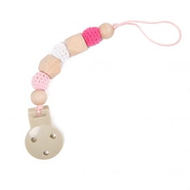 B-Pacifier Chain in Wood Pink