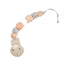 B-Pacifier Chain in Wood Grey