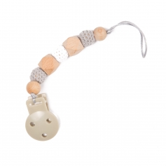 B-Pacifier Chain in Wood Gris
