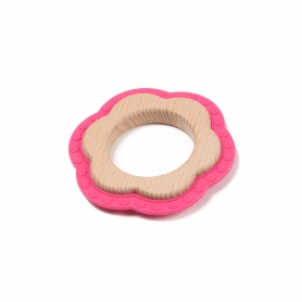 B-Wood Teethers Flower Roze