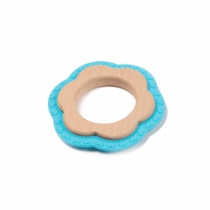 B-Wood Teethers Flower Blue