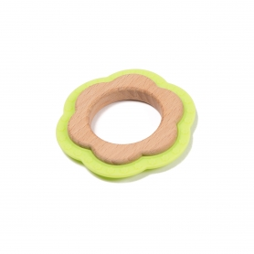 B-Wood Teethers Flower Green
