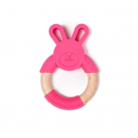 B-Wood Teethers Animal Lapin Rose