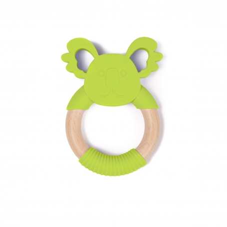 B-Wood Teethers Animal Green Frog